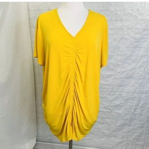 Susan Graver Womens 3X Top Tunic Yellow Ruched